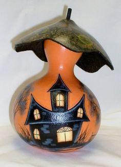 Halloween Fairy Gourd Mushroom House - Hand Painted Gourd