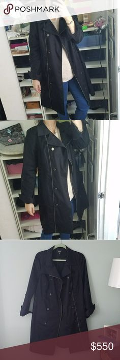Nicole Miller Navy Trench Beautiful jacket. Worn once. Perfect condition. Says size 14 but fits like a 6. Might also fit an 8. Missing belt. Cotton & Polyester. Nicole by Nicole Miller Jackets & Coats Trench Coats