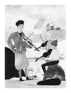 Black and white painting in goauche and ink - illustration by Pádhraic Mulholland of traditional folk music in Norway. Hardingfele or Hardanger Fiddle. Ink Illustrations, Illustration Art, Black And White Painting, Folk Music, People People, Gouache, Norway, Illustrator, Watercolor