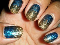 Glitter Gradient - Gold/Blue
