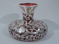 Alvin Vase - R3349 - American Cranberry Red Glass & Silver Overlay #Alvin