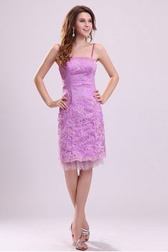 Spaghetti Strap Classic Purple Celebrity Dress - Order Link: http://www.theweddingdresses.com/spaghetti-strap-classic-purple-celebrity-dress-twdn2589.html - Embellishments: Pleating; Length: Knee Length; Fabric: Tulle; Waist: Natural - Price: 151.21USD