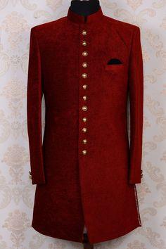 Men's Red Sherwani Indian Ethnic Bespoke Designer Custom Fit Wedding US Nigerian Men Fashion, Indian Men Fashion, Mens Fashion Suits, African Fashion, Mens Suits, Mens Sherwani, Sherwani Groom, Wedding Sherwani, Wedding Dresses Men Indian
