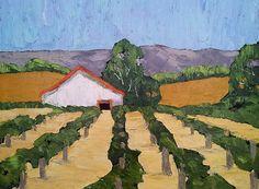 VINEYARD BARN Oil Painting California Rustic Winery Farm Lynne French Impressionist Art 16x20