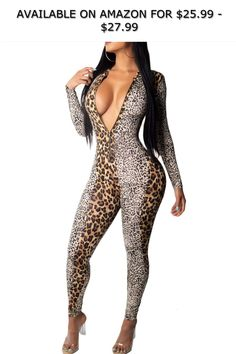 3c7a642ad42 Joyfunear Women s Leopard Patchwork Long Sleeve Slim Jumpsuit Romper with  Front Zippers ◇ AVAILABLE ON AMAZON