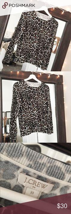 New J Crew Leopard Sweater Shirt Super cute J Crew leopard sweater shirt - never worn. Size XS. No trades. 💕 J. Crew Sweaters