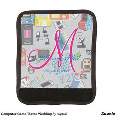 Computer Game Theme Wedding Luggage Handle Wrap