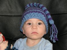 Toddler's long-tailed hat in purple and blue