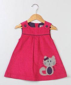 Another great find on Dark Pink Cat Corduroy Jumper - Infant & Toddler Kids Dress Wear, Little Girl Dresses, Girls Dresses, Toddler Dress, Toddler Outfits, Kids Outfits, Infant Toddler, Baby Girl Dress Patterns, Kids Frocks