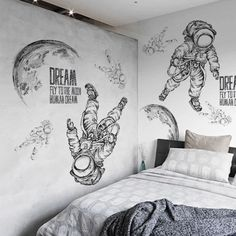 Space Wall Decals Astronaut Kid's Room Wall Stickers – the treasure thrift Wall Painting Decor, Mural Wall Art, Playroom Mural, Playroom Ideas, Wall Paintings, Kids Room Wall Stickers, Wall Drawing, Paint Designs, Bedroom Wall