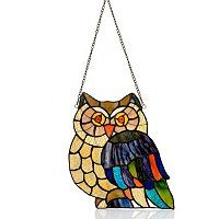 "Tiffany Style 14"" Hoot Owl Stained Glass Window Panel ShopNBC.com"
