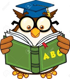 Royalty Free RF Clipart Illustration Wise Owl Teacher Cartoon Mascot Character Reading A ABC Book clipart. Free Cartoon Images, Teacher Cartoon, Book Posters, Wise Owl, Art Images, Hobbit, Techno, Diy And Crafts, Projects To Try