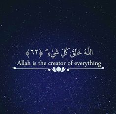 Allah is the Creator of everything. Islamic quote and reminder. Quran Verses, Quran Quotes, Islamic Quotes, Quran Sayings, Qoutes, Love In Islam, Allah Love, Alhamdulillah For Everything, Noble Quran
