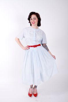 Vintage 50s Dress Pastel Blue Shirt Waist 1950s by stutterinmama, $58.00