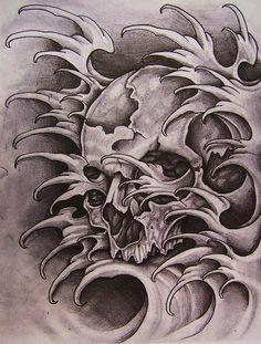 skull with waves by justinstorm on DeviantArt