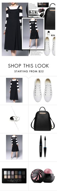"""""""Stripes with Dezzal"""" by anarita11 ❤ liked on Polyvore featuring Converse, MAKE UP FOR EVER, Maybelline, white, black, stripes and dezzal"""