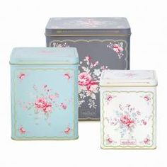 Set of 3 Tin box square Abelone dark grey - The Shabby Chic Store French Pattern, Shaby Chic, Home Board, White Cottage, Cushion Fabric, Tin Boxes, Tea Accessories, Organizer, Retro