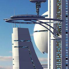 futuristic sci fi city model by Tim Shaw Retro Futuristic, Futuristic Architecture, Environment Concept Art, Environment Design, Sci Fi City, Alien Concept Art, Fantasy City, Science Fiction Art, 3d Max