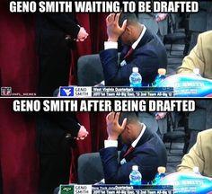 Jets draft Geno Smith! Funny Football Memes, Funny Nfl, Nba Memes, Geno Smith, Jets Football, Daily Fantasy, World Of Sports, Fantasy Football, Laughter