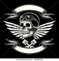 Motor skull vector graphic Motorcycle vintage design Biker emblem, rider and insignia, icon and logo or tattoo