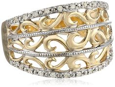 10k Yellow Gold Filigree Diamond Ring (1/10 cttw, I-J Color, I2-3 Clarity), Size 7 Amazon Curated Collection http://smile.amazon.com/dp/B005ILH78E/ref=cm_sw_r_pi_dp_XH15ub1EC8VX1