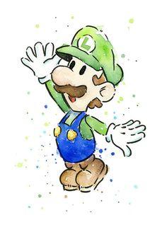 Luigi Portrait Watercolor Art Print Geek Videogame Nintendo