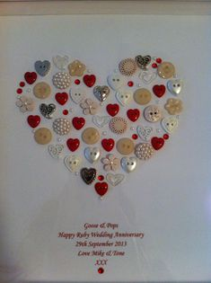 Framed Heart Button Artwork - personalised for a Ruby Wedding Anniversary gift. Email tenderlovingcraft@gmail.com for a quote