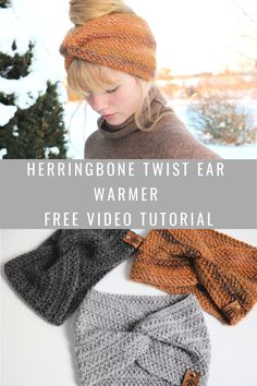 Herringbone Twist Ear Warmer MJs off the Hook Designs - Warmers - Ideas of Warmers Crochet Headband Pattern, Crochet Beanie, Crochet Hooks, Crochet Baby, Knit Crochet, Knitted Hats, Crochet Ear Warmer Pattern, Crochet Winter Hats, Crochet Patterns For Beginners