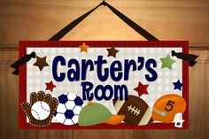 DOOR SIGN Little Boys Sports  Football by LittleMonkeyDoodles, $12.50