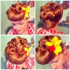 sarahsdoowopdos: 1950s rockabilly style updo done in the parlour this isn't even hairstyling. this is ART