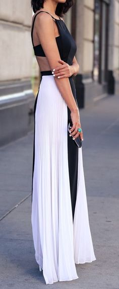 Black + White Pleated Maxi