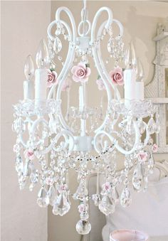 A Fairy Tale Chandelier Clear Crystals & Pink  Porcelain Roses 5 Lights-vintage, victorian, shabby, romance, lighting, chandelier, crystals, glass beads, crystal chains, sparkling, glamour, romantic home,