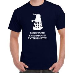 Dr Who Dalek Exterminate Exterminate Tee T-Shirt Tshirt Tops Short... ($10) ❤ liked on Polyvore featuring tops, t-shirts, black, women's clothing, unisex shirts, black checkered shirt, short sleeve t shirts, short sleeve tops and shirts & tops