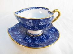 SMALL ANTIQUE COPELAND SPODE B HEART SHAPED CUP & SAUCER