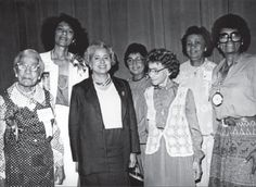 PICTURED: (LEFT TO RIGHT) Founder Winona Cargile Alexander; 17th National President Mona Humphries Bailey; Soror Patricia Robert's Harris, Delta Sigma Theta's first executive director; 12th National President Jeanne L. Noble; Founder Bertha Pitts Campbell; 10th National President Dorothy Irene Height; and 15th National President Lillian Pierce Benbow at a National Convention of Delta Sigma Theta Sorority, Inc. #DSTHeritageMoments