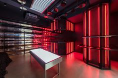 Showroom Interior Design, Interior Walls, Red Room Decor, Nendo Design, Form Architecture, Neon Room, Gaming Room Setup, Retail Store Design, Red Rooms