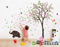baby nursery wall decals - tree wall decal elephant decal decor