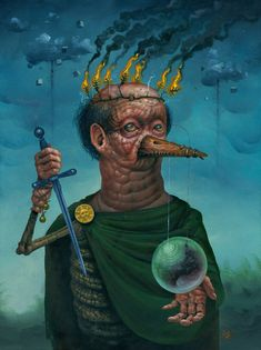 'Meus Nequam Nomen' by Jeff Christensen. Find out more about Jeff and see more of his amazing art in his interview at wowxwow.com. (dark art, discovery, enlightenment, heavy metal, humor, humour, manipulation, mystery, narrative, painting, politics, religion, satire, society, superstition, symbolism, surreal, surrealism, contemporary art, fine art, new contemporary art)