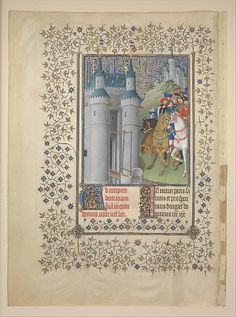 """The Belles Heures of Jean de France, Duc de Berry (image 158)   Herman, Paul & Jean de Limbourg   Franco-Netherlandish; made in Paris   1405-1408/1409   Tempera, gold & ink on vellum   Cloisters Collection; Metropolitan Museum of Art   Accession Number: 54.1.1a, b   """"The Belles Heures,"""" a private devotional book, was the first of two sumptuous manuscripts commissioned by the duke of Berry from the Limbourg brothers. It is the only manuscript that they completed in its entirety."""
