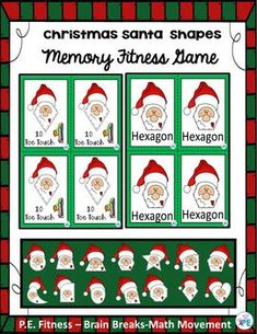 Santa Christmas Shapes Fitness Game for PE, Brain Breaks & Indoor Recess - Allison Powell Fun Classroom Activities, Classroom Fun, Halloween Activities, Physical Activities, Elderly Activities, Dementia Activities, Movement Activities, Fitness Activities, Christmas Games For Kids