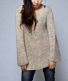 Hand knit sweater  long sweater in Wheat by MaxMelody on Etsy, $95.00