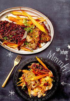 Ein köstlicher Veggie-Braten aus Quinoa, Champignons und Nüssen.