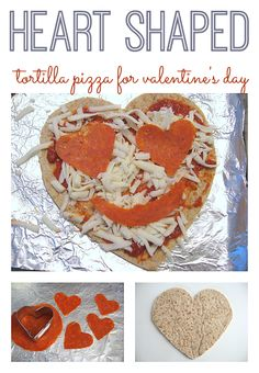 Heart Shaped Pizza - perfect for Toddlers & Preschools for a Special (& easy) Valentine's Day or Birthday Lunch #tortillapizza