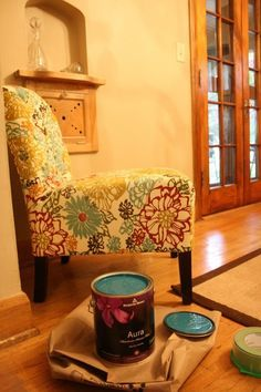 I like these walls and this chair - and the paint in the can!