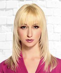 Long straight formal hairstyle with blunt cut bangs - light blonde hair color Easy Hairstyles For Long Hair, Hairstyles With Bangs, Straight Hairstyles, Haircuts, Virtual Hairstyles, Party Hairstyles, Popular Hairstyles, Trendy Hairstyles, Blonde Hair Dark Eyes