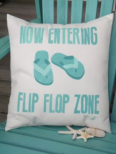 Outdoor pillow FLIP FLOP ZONE cushion 17x19 hand by crabbychris, $41.00