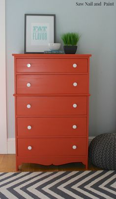 Orange Dresser with Milk Glass Knobs - Before and After - Saw Nail and Paint Orange Painted Furniture, Paint Furniture, Furniture Makeover, Furniture Design, Furniture Ideas, Refurbished Furniture, Laminate Furniture, Dresser Makeovers, Bedroom Makeovers