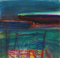 Barbara Rae | Red Fence - Ceide | mixed media on paper | 44 x 45 inches.