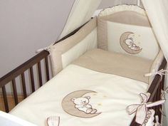 5-Piece-pcs-Baby-Bedding-Cot-Cotbed-Bumper-Set-Duvet-Cover-Bear-Moon-Embroidery