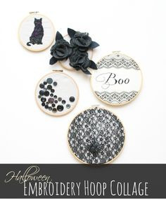 Halloween Embroidery Hoop Collage--full tutorial for each hoop.